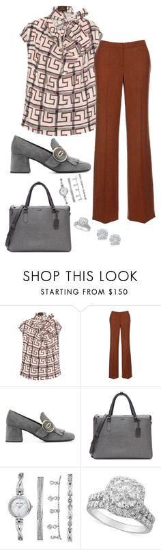 """Office 02"" by sommer-reign ❤ liked on Polyvore featuring Vivienne Westwood Anglomania, Prada, Tumi, Anne Klein and Effy Jewelry"
