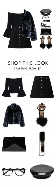 """Monochrome: All Black Everything"" by ioanathe92liner ❤ liked on Polyvore featuring Alexis, Miss Selfridge, Steve Madden, Rocio, Julep, EyeBuyDirect.com, Manokhi and allblack"