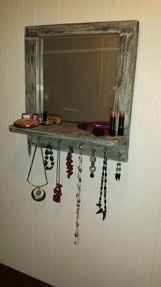 Check out this item in my Etsy shop https://www.etsy.com/listing/235553634/jewelry-organizer-with-mirror-and-shelf