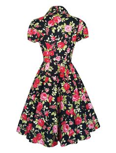 This is a gorgeous Black Red Rose Dress Vintage Floral Dress Floral Bridesmaid Dress Plus Size Dress Christmas Dress Rockabilly Clothing Pin Up Tea Party Dress. The dress features a full circle 1950s style flared skirt, a fitted bodice, these dresses ooze so much style and class!
