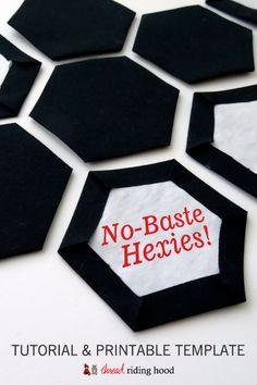 No-Baste Hexies! {a tutorial & printable template} Thread Riding Hood - No-Baste Hexies Tutorial & Printable<br> Hexagon Quilt Pattern, Hexagon Patchwork, Quilt Block Patterns, Hexagon Quilting, Quilt Blocks, Quilting Tips, Quilting Tutorials, Quilting Designs, Baby Quilt Tutorials