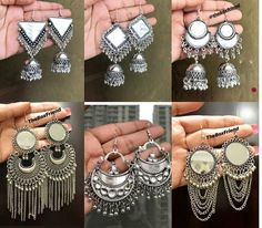 Antique Jewellery Designs, Jewelry Design, Stylish Jewelry, Fashion Jewelry, Traditional Earrings, Silver Jewellery Indian, Anklet Jewelry, Oxidised Jewellery, Metal Jewelry