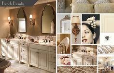 Bathroom cabinets shown with door style 720 Painted Silk.