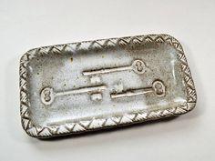 Stoneware Rectangular Key Plate Buttermilk Glaze by RoseMarysClay, $14.00