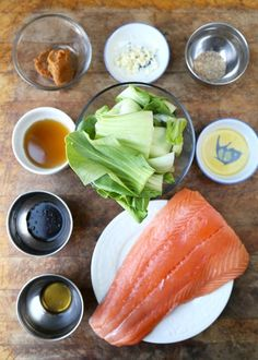 This is an easy recipe for miso salmon served on a bed of sauteed sesame bok choy. Delicate flavors for healthy and delicious Japanese inspired meal! Salmon Recipes, Seafood Recipes, Dinner Recipes, Healthy Recipes, Cooking Recipes, Meal Recipes, Healthy Dishes, Vegetarian Recipes, Gastronomia