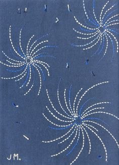 fireworks or Stitching Across the Ditch: Floral Sashiko Chrysanthemum - Jane