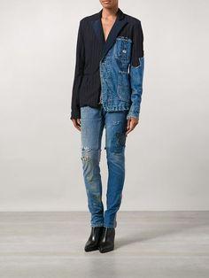 patchwork distressed denim blazer