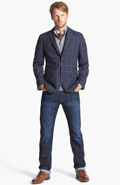 JKT New York Blazer & AG Tailored Fit Straight Leg Jeans  available at #Nordstrom