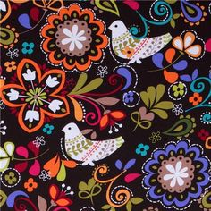 Michael Miller fabric Espresso Birds of Norway  beautiful brown fabric with white birds and colourful flowers from the USA