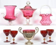 Lot:(8) CRANBERRY ART GLASS ITEMS, Lot Number:392, Starting Bid:$25… Cranberry Glass, Hurricane Glass, Woody, Glass Art, Auction, Victorian, Vase, Antiques, Tableware
