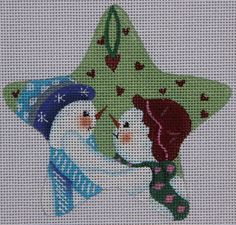 Maggie Co by Ginny Diezel Sweetheart Snow Couple M1467 HP Needlepoint Canvas #MaggieCo