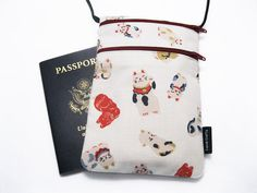 SOLD OUT - Small travel pouch Mini neck wallet Fabric passport by KapomCrafts, $10.00