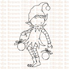 Digital stamp -- Christmas Elf by Torico- BirdieBrown Etsy shop Christmas Stencils, Christmas Doodles, Christmas Coloring Pages, Christmas Drawing, Christmas Elf, Christmas Colors, Machine Embroidery Designs, Embroidery Patterns, Ribbon Embroidery