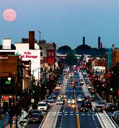 A full moon above H Street in Washington DC