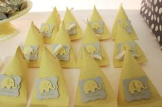 Yellow & Gray Chevron Baby Shower Ideas (Elephant Theme) - Crafty Morning