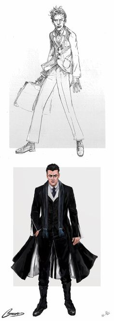 Costume renderings for Newt and Graves from 'Fantastic Beasts and Where To Find Them' (2016). Costume Designer: Colleen Atwood