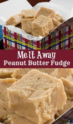 Away Peanut Butter Fudge - For a peanut butter fudge that literally melts in your mouth, this is the recipe you need. -Melt Away Peanut Butter Fudge - For a peanut butter fudge that literally melts in your mouth, this is the recipe you need. Köstliche Desserts, Delicious Desserts, Dessert Recipes, Yummy Food, Recipes Dinner, Tasty, Peanut Butter Recipes, Fudge Recipes, Easy Peanut Butter Fudge