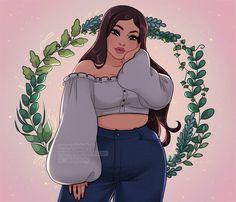Plus Size Art, Black Girl Art, Digital Art Girl, Cartoon Art Styles, Aesthetic Art, Cute Cartoon, Fat Girl Cartoon, Cute Drawings, Female Art