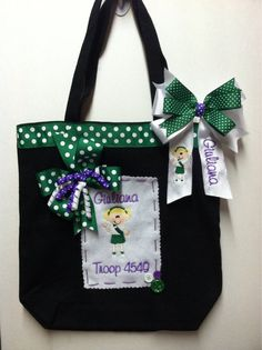 Boutique~ Personalized~ Monogrammed Junior Girl Scout Tote Bag & Hair Bow Set