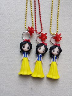 Necklace snow white fimo polymer clay by Artmary2 on Etsy, €12.00