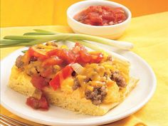 Cowboy Breakfast Bake--Breakfast ready in 40 minutes! Enjoy this cheesy pork sausage bake made using Gold Medal® all-purpose flour. Baked Breakfast Recipes, Breakfast Bake, Breakfast Dishes, Breakfast Casserole, Brunch Recipes, Breakfast Ideas, Breakfast Club, Apple Sausage, How To Cook Sausage