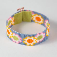 SALE Daisy Girl Bead Loom Bracelet Artisanal by PuebloAndCo