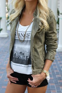 Graphic tee & army green jacket