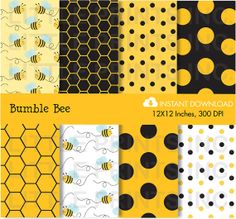 Bumble Bee Honeycomb Digital Paper INSTANT by LittlePrintsParties, $5.00