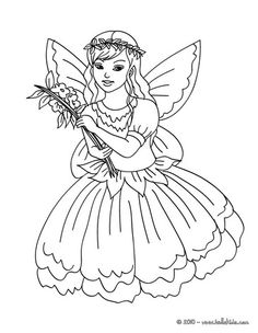 Fairy Flower Dress Coloring Page Color In This And Others With Our Library Of Online Pages
