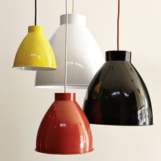 Industrial Pendant | west elm - The price has come WAY down on these industrial pendant lights, with a pop of color. $7 - $50