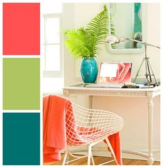 Coral is a cross between pink and orange and is fetching when paired with complementary teal blue. Inject a dash of lime green for an invigorating combination sure to cheer any space.
