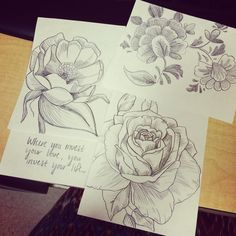 Some flowers drawn by me. #flowers #drawing