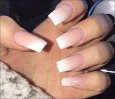 white and pink ombre nails