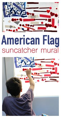 American Flag Suncatcher - of July Craft - No Time For Flash Cards Summer Fun For Kids, Summer Activities For Kids, Summer Ideas, Craft Activities, Preschool Books, Preschool Crafts, Craft Kids, Holiday Crafts, Holiday Fun