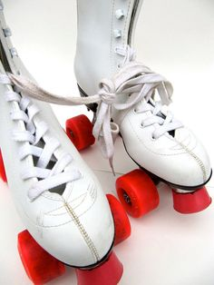 White boot roller skates - Xanadu style up and down the street and at the local roller rink
