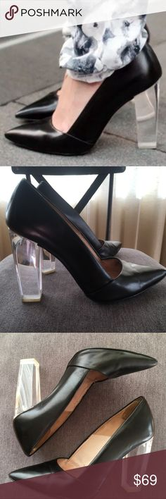 """Zara black clear heel pumps Sz 38 8 Very hard to find. Features transparent 4"""" block heel.  Leather Lucite Crystal Perspex Methacrylate. In good condition. Would fit size 7 narrow feet.  Chic and gorgeous! Zara Shoes Heels"""
