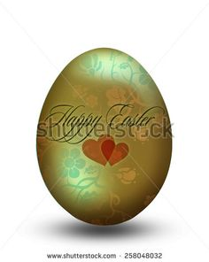 Golden easter egg with ornament and hearts
