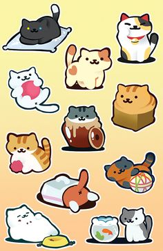 "cartoonheroes: ""Made some Neko Atsume stickers! :D """
