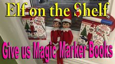 Our Elves on the Shelf brought us some cool Magic Books with Magic Markers ________________________________________ ________________________________________ . Shelf Board, Magic Book, Shelf Ideas, Some Ideas, Elf On The Shelf, Markers, Ronald Mcdonald, Shelves, Books