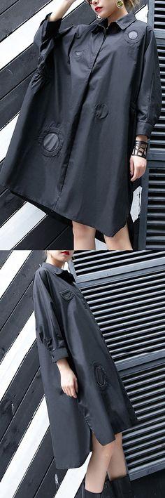 New-black-cotton-knee-dress-plus-size-clothing-cotton-maxi-dress-women-lapel-collar-asymmetric-cotton-dresses