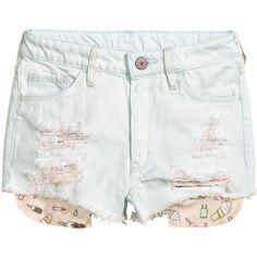 Denim Shorts $19.99 ($20) ❤ liked on Polyvore featuring shorts, short jean shorts, elastic waist shorts, distressed denim shorts, blue jean shorts and blue shorts