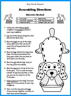 Dog Book Report Projects Assembling Directions for Elementary Students