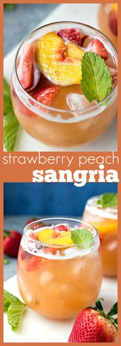 Strawberry Peach Sangria – Fresh strawberries and peaches are added to white white, brandy, and lemon lime soda to make for a refreshing cocktail perfect for summer! #recipe #sangria #cocktail #wine #peach #strawberry #summer #fruit