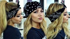 Womens hairstyles Bandana hairstyles – Tutorial Per Capelli Bandana Hairstyles Short, Scarf Hairstyles, Hairstyles With Bangs, Trendy Hairstyles, Straight Hairstyles, Girl Hairstyles, Wedding Hairstyles, Bouffant Hairstyles, Hairstyles 2018