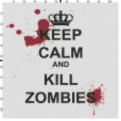 Keep Calm and Kill Zombies cross stitch pattern by QuirkyStitcher, £2.50