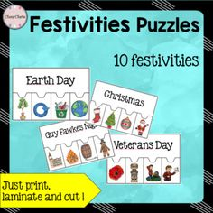 Can your students find the words linked to these 10 festivities ? An engaging activity! Just print, laminate and cut .10 festivities / 4 pictures each time:- New Year- Valentine's Day- Saint Patrick's Day- Earth Day- Veterans Day- Independence Day- Halloween- Guy Fawkes Night- Thanksgiving- ChristmasThis activity can be used - for your little learners - for your fast finishers- as an end of the year game.You might also like all the other puzzles featured in:-  [BUNDLE]Puzzles: Alphabet…