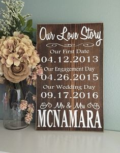 Rustic Our Love Story Sign / Rustic Wedding Wood by TheRusticEarth