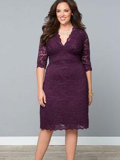Scalloped Boudoir Lace Dress in Plum