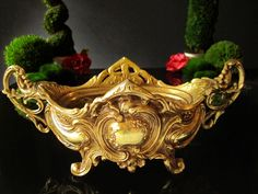 Antique Brass Art Nouveau Jardiniere Rococo Footed Bowl Gold Tone Centerpiece Ornate Oval Planter by InventifDesigns on Etsy