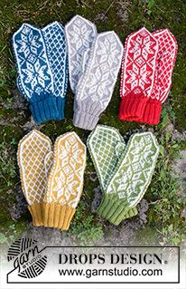 Christmas Claps - Knitted mittens with Nordic pattern for Christmas in DROPS Karisma. - Free pattern by DROPS Design Baby Knitting Patterns, Knitted Mittens Pattern, Knit Mittens, Knitting Designs, Knitting Projects, Crochet Patterns, Scarf Patterns, Knitting Tutorials, Knit Cowl